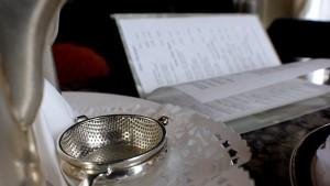 Afternoon tea strainer and menu Dromoland on luxury hotels Ireland